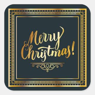 Pegatina Cuadrada Negro y pegatinas elegantes del navidad del oro
