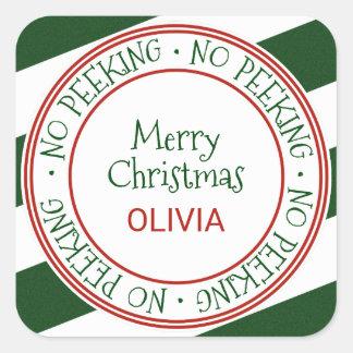 Pegatina Cuadrada Ningún regalo del navidad que mira a escondidas