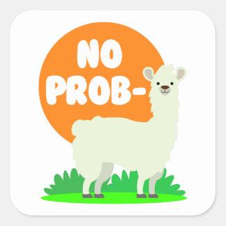Pegatina Cuadrada Ninguna Prob-Llama - la ninguna llama del problema