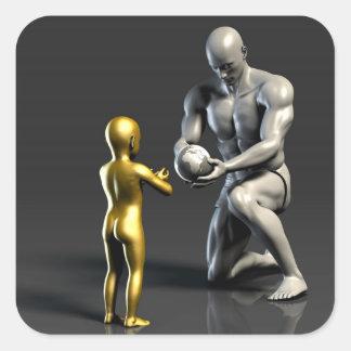 Pegatina Cuadrada Niño de enseñanza del padre como concepto en 3D