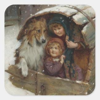 Pegatina Cuadrada Niños del Victorian en caseta de perro