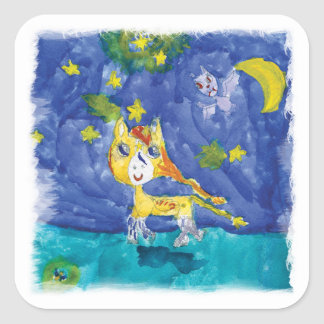 Pegatina Cuadrada Noche estrellada Pegaso de la acuarela con el palo