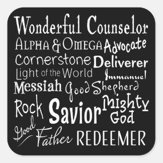 Pegatina Cuadrada Nombres de dios de la biblia en blanco y negro