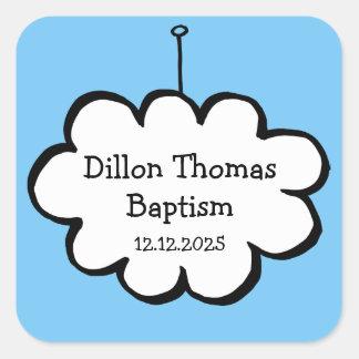 Pegatina Cuadrada Nube en un favor del bautizo del bautismo de la
