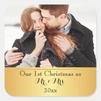 Pegatina Cuadrada Nuestro primer personalizado del navidad junto