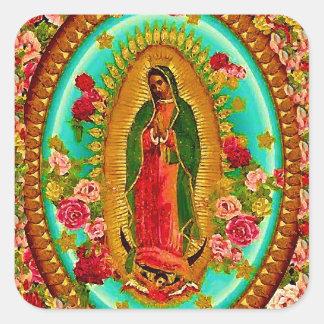 Pegatina Cuadrada Nuestro Virgen María mexicano del santo de señora