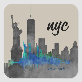 Pegatina Cuadrada nyc cool skyline new york design. new!!