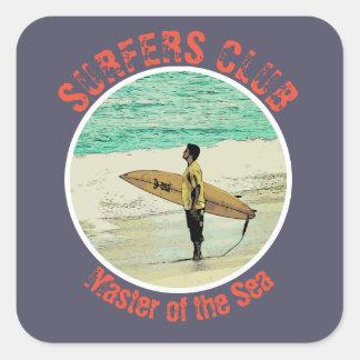 Pegatina Cuadrada Observación de la persona que practica surf