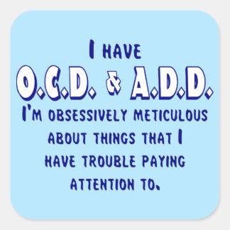 Pegatina Cuadrada OCD y AÑADEN el azul y el blanco