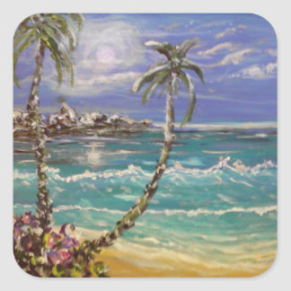 Pegatina Cuadrada onda de la playa, palmeras