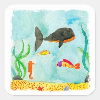 Pegatina Cuadrada Opinión del mar de la acuarela con la ballena y el