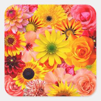 Pegatina Cuadrada Orange flowers_ Gloria Sanchez