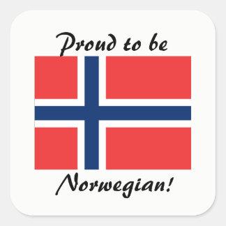 Pegatina Cuadrada Orgulloso ser pegatinas noruegos