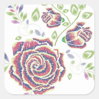Pegatina Cuadrada Ornamento color de rosa púrpura del bordado