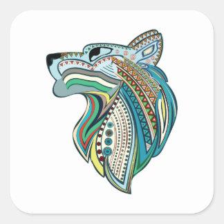 Pegatina Cuadrada Ornamento étnico principal del lobo