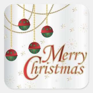Pegatina Cuadrada Ornamentos de las Felices Navidad en blanco