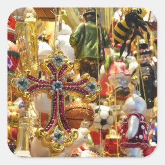 Pegatina Cuadrada Ornamentos del vintage de la lata y pegatinas