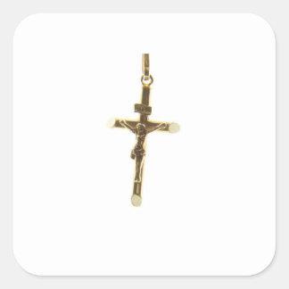 Pegatina Cuadrada Oro cruzado del Jesucristo horizontal