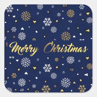 Pegatina Cuadrada Oro de las Felices Navidad y copos de nieve