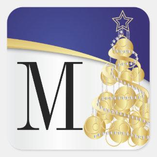 Pegatina Cuadrada Oro del monograma y Felices Navidad azules