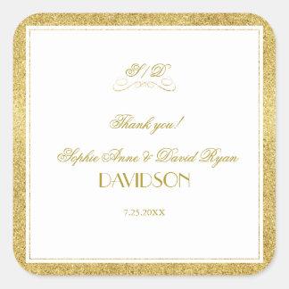 Pegatina Cuadrada Oro elegante y boda blanco de la frontera