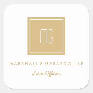 Pegatina Cuadrada Oro y pegatinas blancos del logotipo del negocio