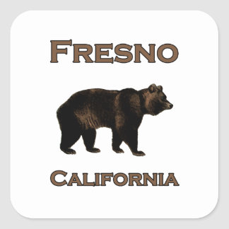 Pegatina Cuadrada Oso de Fresno California