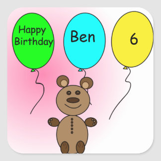 Pegatina Cuadrada Oso del globo del cumpleaños