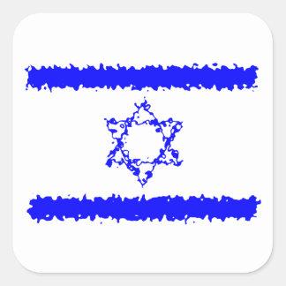 Pegatina Cuadrada País del azul de Israel de las banderas
