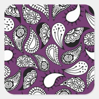 Pegatina Cuadrada Paisley púrpura oscura