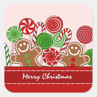 Pegatina Cuadrada Panes de jengibre rojos lindos del navidad
