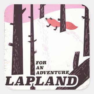 Pegatina Cuadrada Para un poster del vintage de Laponia de la