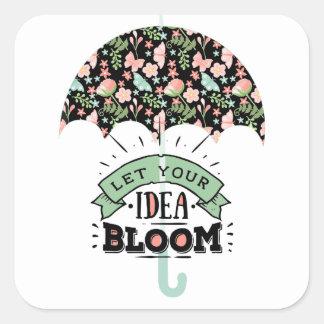 Pegatina Cuadrada Paraguas de la floración de la idea
