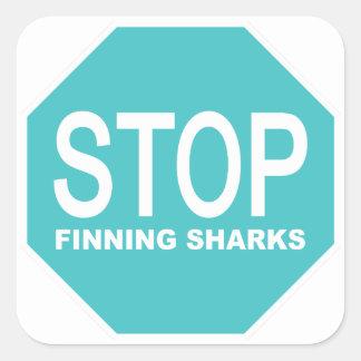 Pegatina Cuadrada Pare la muestra de los tiburones de Finning