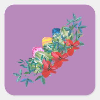 Pegatina Cuadrada Pascua, flor, huevos, acuarela