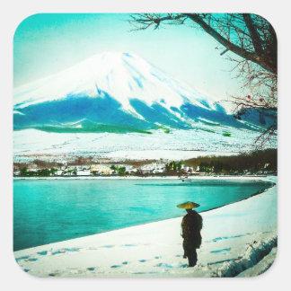 Pegatina Cuadrada Paseo del invierno debajo del vintage Japón del