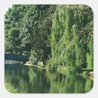 Pegatina Cuadrada Paseo soleado verde del río de los árboles del
