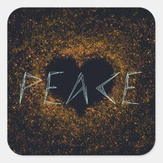 Pegatina Cuadrada paz-amor