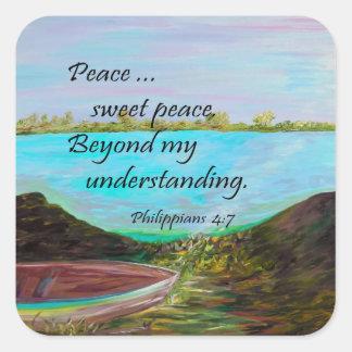 Pegatina Cuadrada Paz del dulce de la paz