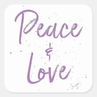 Pegatina Cuadrada Paz-y-Amor-Púrpura