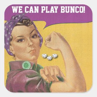 Pegatina Cuadrada ¡Pegatina divertido de Bunco - podemos jugar