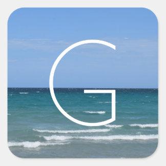 Pegatina Cuadrada Pegatinas claros de la playa de la turquesa
