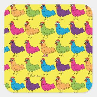 Pegatina Cuadrada Pegatinas coloridos de los pollos