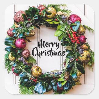 Pegatina Cuadrada Pegatinas coloridos del navidad de la guirnalda de