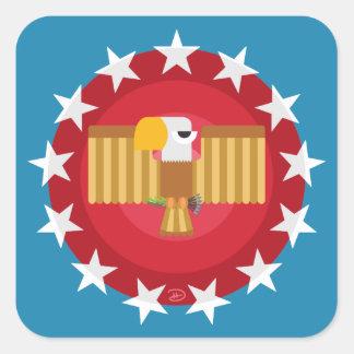 Pegatina Cuadrada Pegatinas cuadrados de Eagle de la libertad (azul)