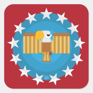 Pegatina Cuadrada Pegatinas cuadrados de Eagle de la libertad (rojo)