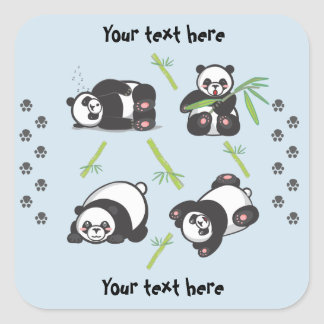 Pegatina Cuadrada Pegatinas cuadrados de las pandas de Kawaii