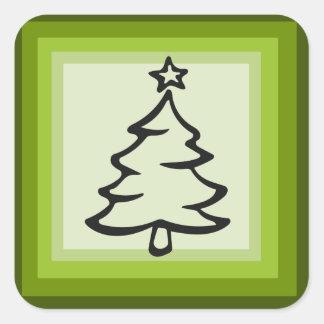 Pegatina Cuadrada Pegatinas cuadrados del árbol de navidad