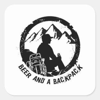 Pegatina Cuadrada Pegatinas de BeerAndaBackpack