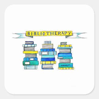 Pegatina Cuadrada Pegatinas de Bibliotherapy